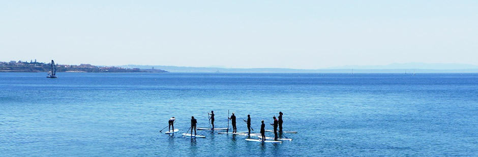 Yoga und SUP - Stand up Paddleboarding in Portugal