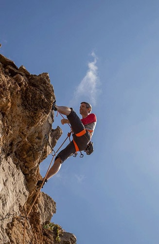 climber at rock in portugal