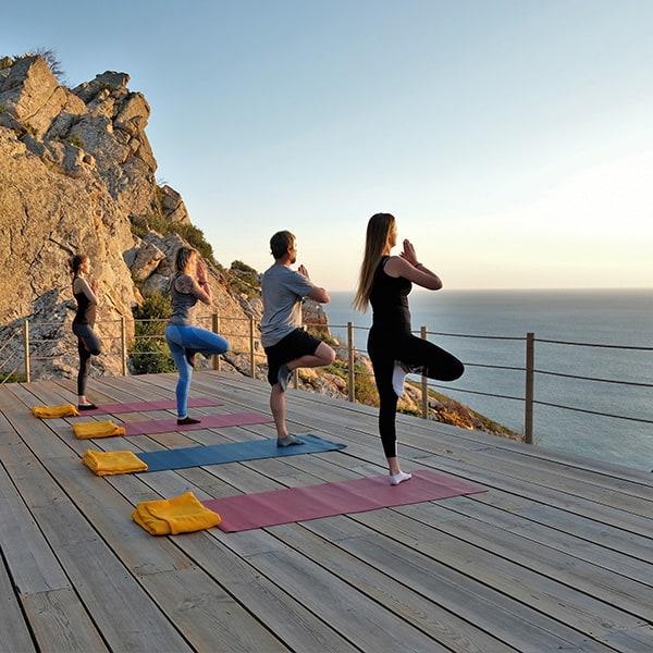 yogis auf yoga deck Baum Postition